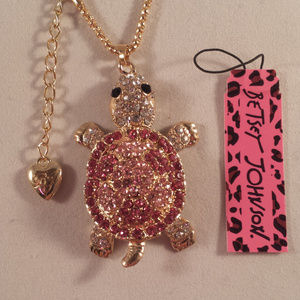 Betsey Johnson Pink Turtle Necklace + Free Gift
